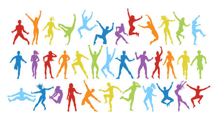 Isolated colorful dancers set on white background. Dance pose. Healthy lifestyle and getting energy. Illustration