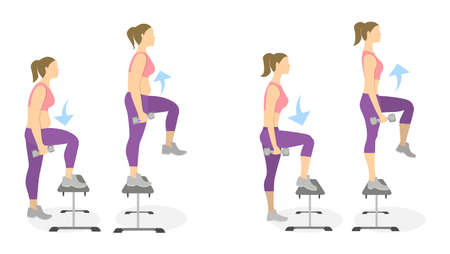 young woman legs up: Stepup exercise for legs on white background. Healthy lifestyle. Workout for legs. Exercises for fat women. From fat to skinny. Illustration