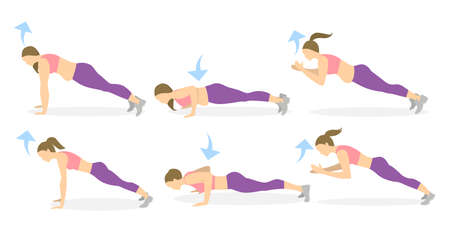 Full body workout on white background. Exercise for fat women. Plank, push ups and clap. From fat to skinny.