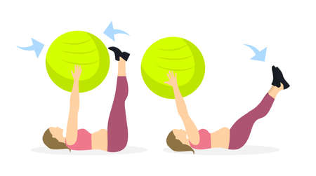 Abs exercise for fat women on white background. Crossfit and fitness. Workout on fit ball.