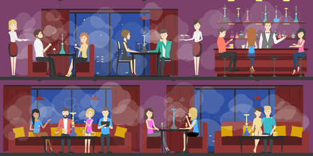 hooka: Hookah bar interior set. Bar and restaurant with food and hookah service. Interior in smoke. Illustration