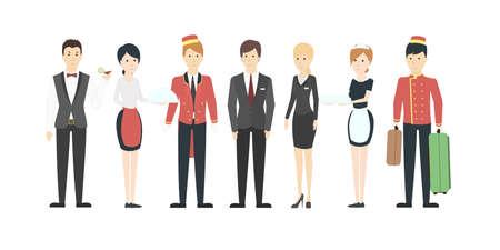 Personnel isolé de l'hôtel sur fond blanc. Toutes sortes d'employés comme les porteurs, les serveuses, les femmes de chambre et les réceptionnistes. Personnes en uniforme.
