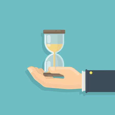 남성 손을 모래 시계입니다. 인내, 마감 및 제한의 개념. 일러스트