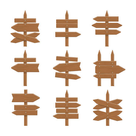 Wooden signs set on white background. Concept of showing direction, way or information.