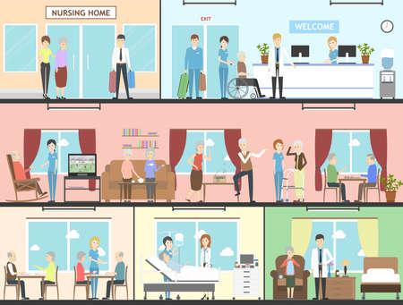 Pflegeheim-Interieur-Set. Wards, Wohnzimmer und mehr. Ältere Menschen mit Krankenschwestern. Healthcare für alte Menschen.