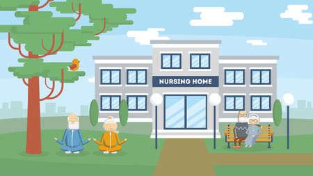 Verpleeghuis gebouw buitenkant. zorg voor oude en zieke mensen. Centrum voor gepensioneerden. Stock Illustratie