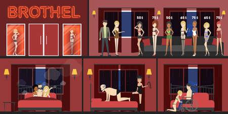 Bordellinnenraum mit Besuchern und Prostituierten. Mädchen mit unterschiedlichen Preisen. Sexarbeiter. Domination, Dreier und Behinderte.