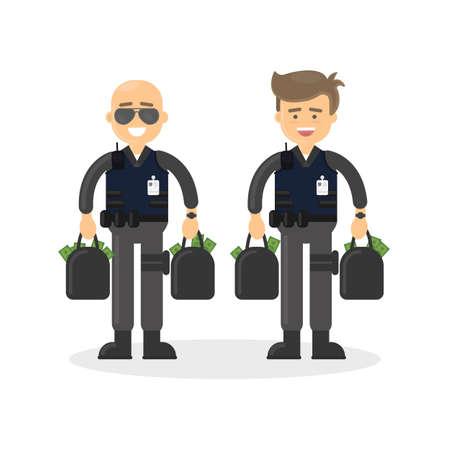 Cash transit bewakers op een witte achtergrond. Twee lachende mannen in kogelvrije vesten met geld zakken.