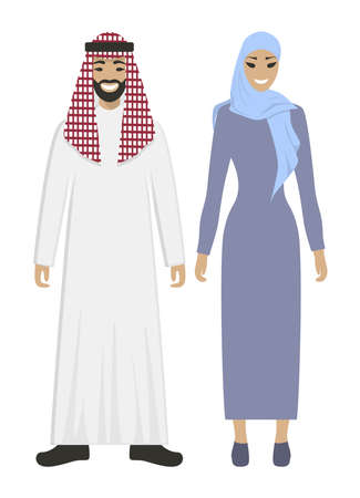 Isolated arabic couple on white background. Beautiful woman in abaya and handsome smiling man in keffiyeh. Illustration