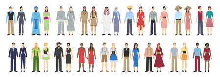 chineese: Different nations set on white background. All kinds of nationalities as arabian and chineese, irish and indians, african american and more. Illustration