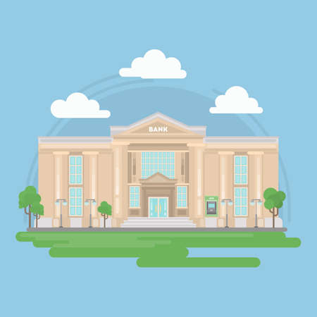 Isolated bank building in retro style with landscape. Clouds and trees. Federal building. Illustration