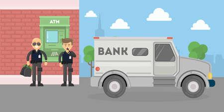 Cash transit bewakers met een busje. Twee lachende mannen in kogelvrije vesten met geld zakken. Landschap met atm en bankgebouw.