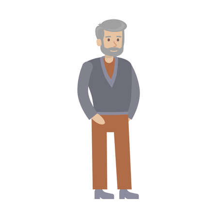 grandad: Isolated senior man on white background. Beautiful elderly character in dress. Grandfather.