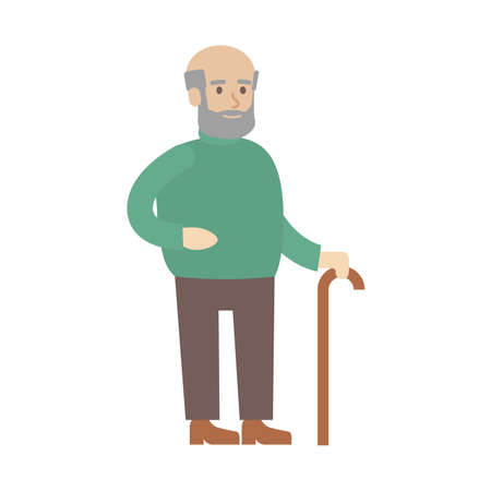 old person: Isolated old man on white background. Smiling aged cartoon character with stick.
