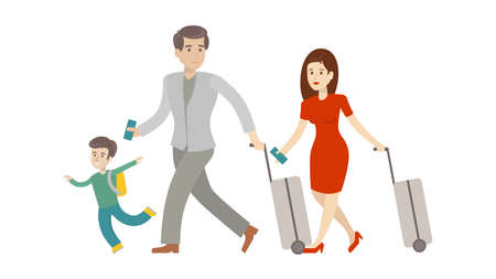 Family in airport with luggage and suitcase on white background. Father, mother and son. Family on vacation. Illustration