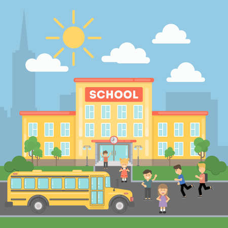 School with children and yellow bus. Landscape with school building, grass and clouds. Urban exterior. Illustration