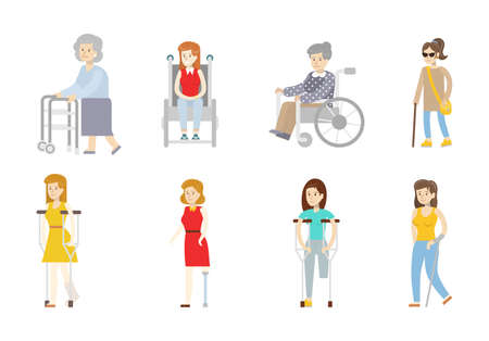 Isolated disabled set on white background. Women with disability. People with wheelchair, crutches and sticks.