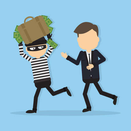 Thief stealing money. Funny cartoon thief in black mask stealing a bag. Concept of fraud, crime.