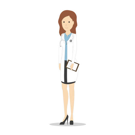 medico: Isolated female doctor on white background. Cartoon character in white uniform. Smiling beautiful woman. Illustration