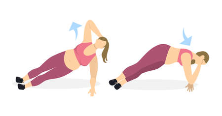 Body exercise for women on white background. Crossfit and fitness. Plank with elbow down. Exercise for fat women. Illustration