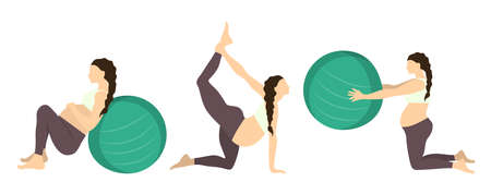 pregnancy exercise: Workout for pregnant set. Yoga training. Healthcare for young mothers. Stretching for health. Exercise with fit ball.