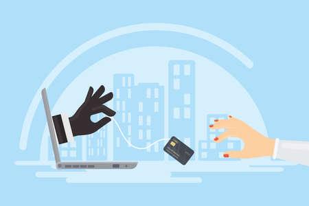 Kreditkarten-Diebstahl. Dieb stiehlt Geld von der Kreditkarte durch den Laptop der Frau.
