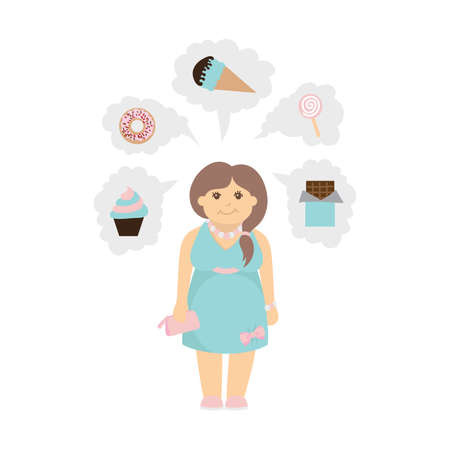 metrics: Woman with bad eating habits. Isolated cartoon character with icon bubbles as donut, chocolate and cupcake.