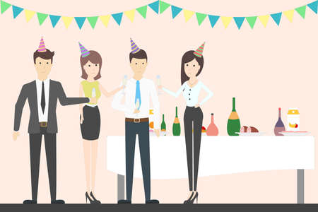 Office party cheers. Holiday corporate dinner and disco. All staff in celebrating hats. Office with decoration. Illustration