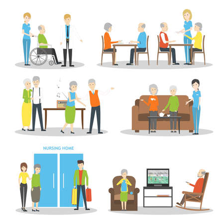 hobbies: Nursing home set on white background. Seniors and helpers. People relax and do hobbies. Illustration