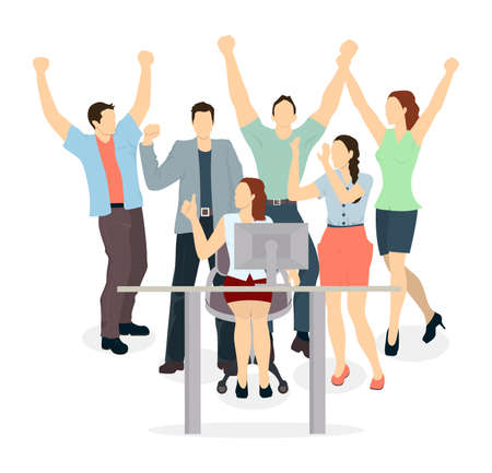 happy office: Happy office workers. Isolated characters celebrate the win. Hands up. Illustration
