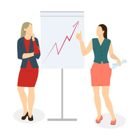 Women with presentation on white background. Concept of analyzing, working and marketing.