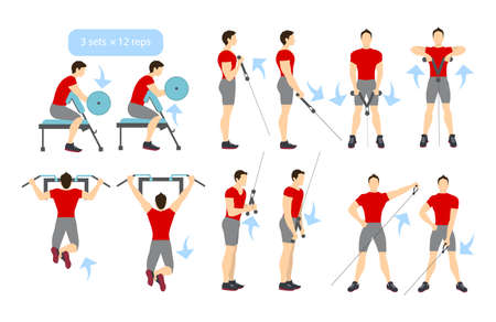 Arms workout set on white background. Exercises for men. Triceps, biceps strength.