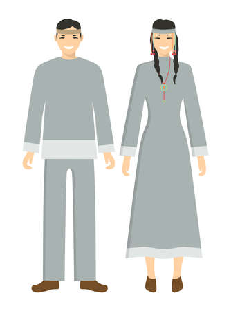 Isolated chukchi couple on white background. Man and woman in national clothes. Illustration