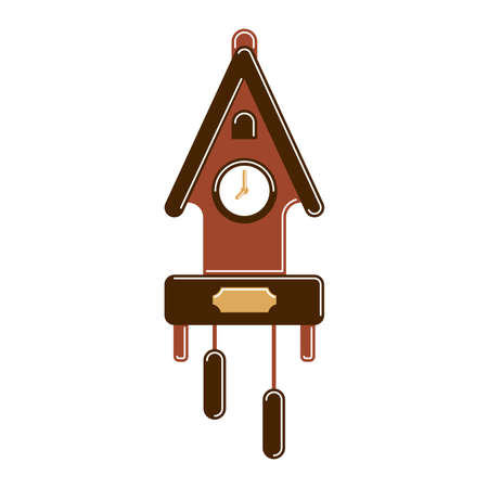 Isolated vintage clock on white background. Cuckoo clock.