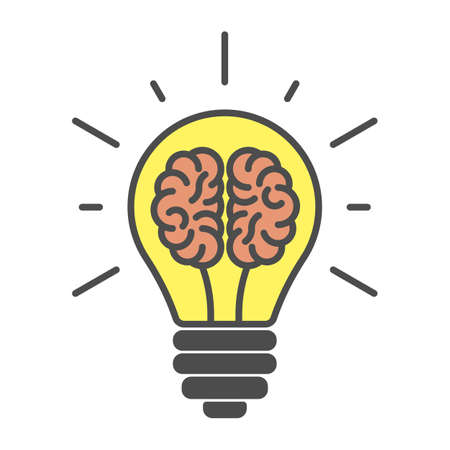 Brains in lightbulb on white background. Isolated icon is symbol of idea, brainsorm and crativity.