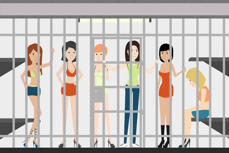 penitentiary: People in jail in police station. Dangerous prisoners. Guilty and isolated. Prostitutes.
