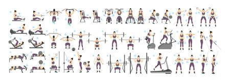 Conjunto de entrenamiento de mujeres. Todo tipo de ejercicios en gimnasia, cardio, cinta de correr, levantamiento de pesas y más. Estilo de vida saludable.