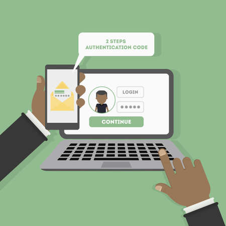 Two steps authentication on computer. Login and password. Verification with sms on smartphone. African American man.
