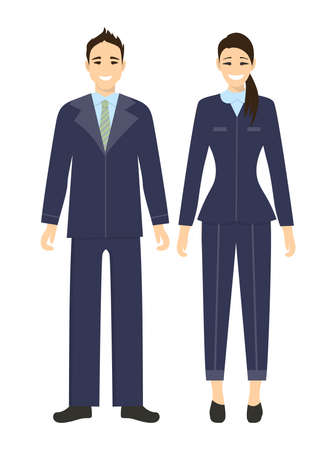 Isolated business couple on white background. Man and woman in suits. Businessman and businesswoman.