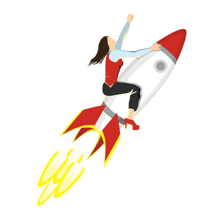 Businesswoman on rocket. Isolated charachter with red and white jet rocket. Successful development of business. Illustration