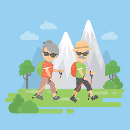 couple hiking: Old couple in mountains. Healthy lifestyle. Trekking for seniors. Illustration