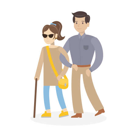 Isolated disabled woman on white background. Young beautiful blind woman in dark glasses with stick and helper. Illustration