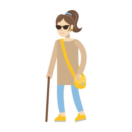 Isolated disabled woman on white background. Young beautiful blind woman in dark glasses with stick.