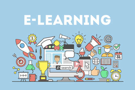 E-learning concept illustration. Word with many icons as golden cup, lightbulb, alarm clock and more.