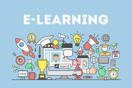 Illustrazione di concetto di e-learning. Parola con molte icone come tazza d'oro, lampadina, sveglia e altro ancora.