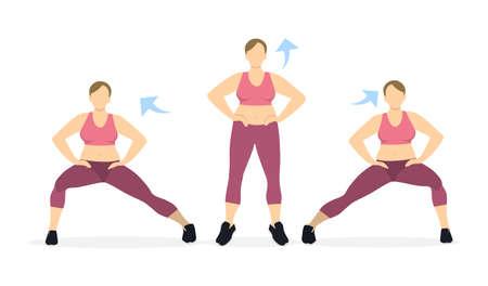 Estocadas ejercicio para las piernas sobre fondo blanco. Estilo de vida saludable. Entrenamiento para piernas. Ejercicios para mujeres gordas.