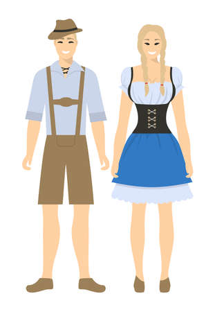 Isolated german couple on white background. Man and woman in traditional costumes. Illustration