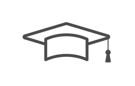 academia: Isolated cap icon on white background. Concept of study, graduation and degree.
