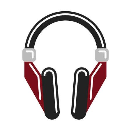 Isolated headphones on white background. Headphone and earphone. Audio equipment. Illustration