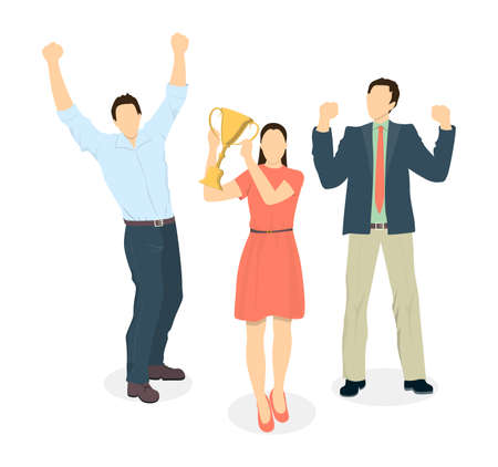 happy office: Happy office workers. Isolated characters celebrate the win. Hands up. Golden cup.